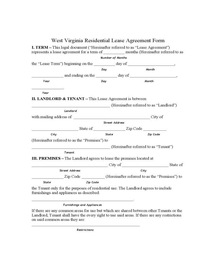 West Virginia Residential Lease Agreement Form Free Download – Tenant Contract Template Free
