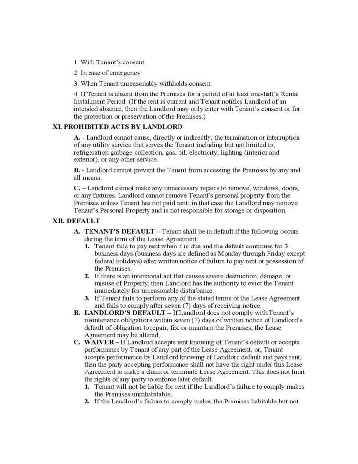 West Virginia Residential Lease Agreement Form
