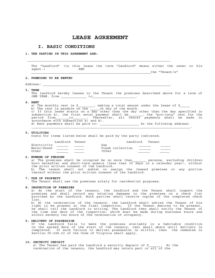 Lease Agreement Form Free Free Lease Agreements 10 Best Images – Rental Agreement Forms Free Download