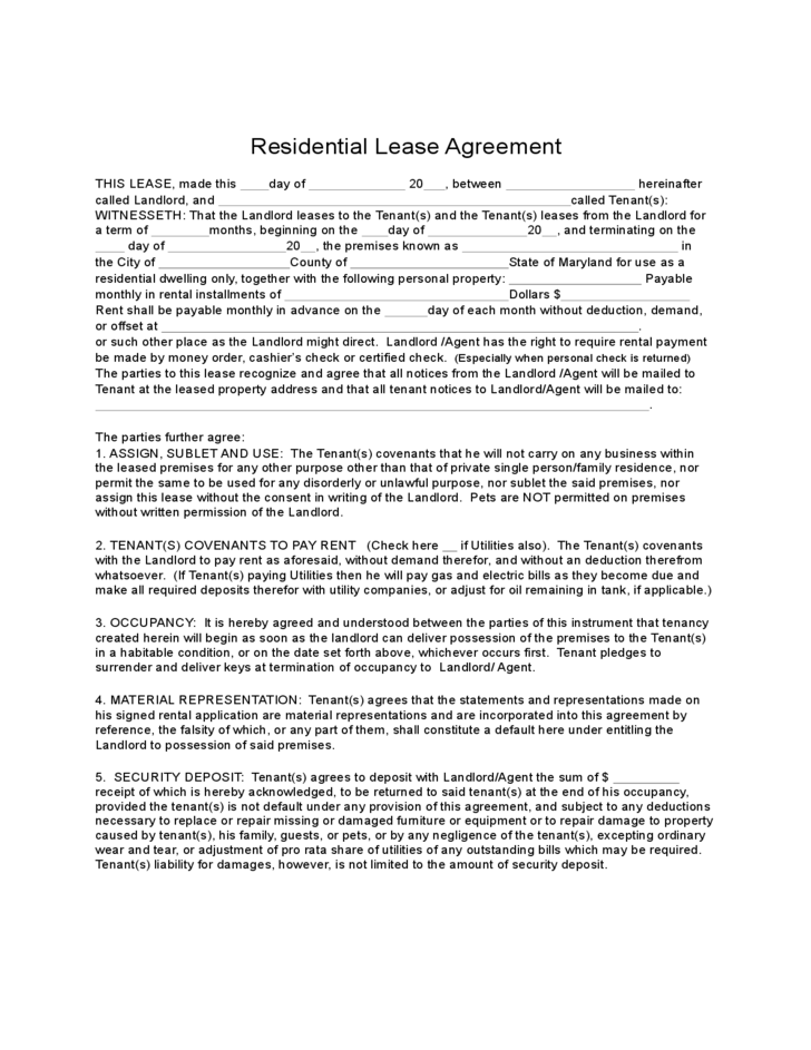 Maryland Residential Lease Agreement Free Download