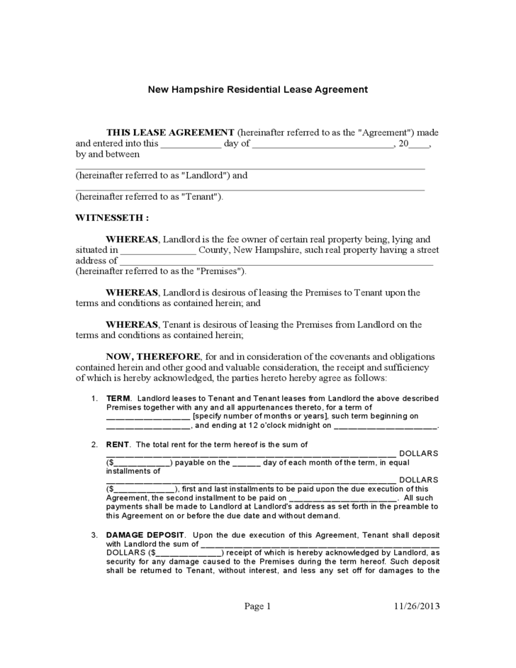 New Hampshire Standard Residential Lease Agreement Free Download