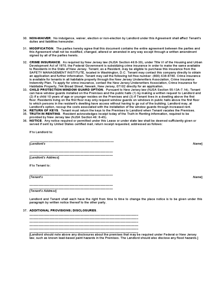 New Jersey Residential Lease Agreement Free Download