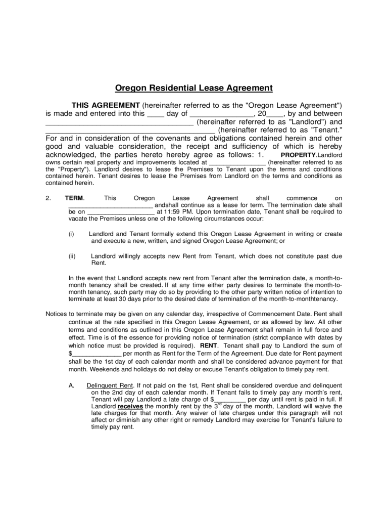 Oregon Residential Lease Agreement Template Free Download