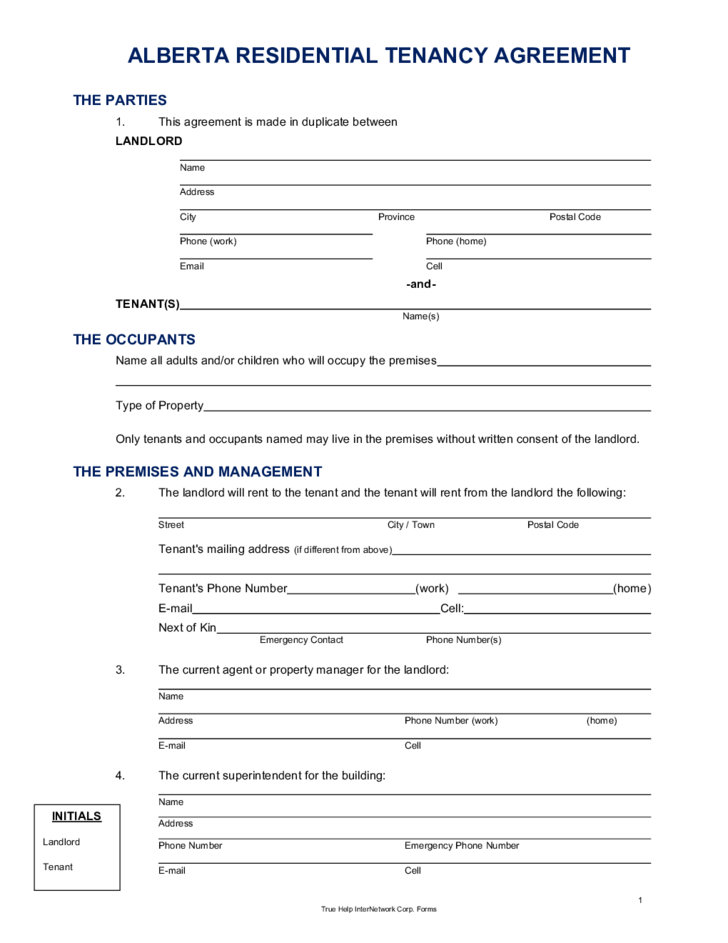 Residential Lease Agreement Alberta Free Download