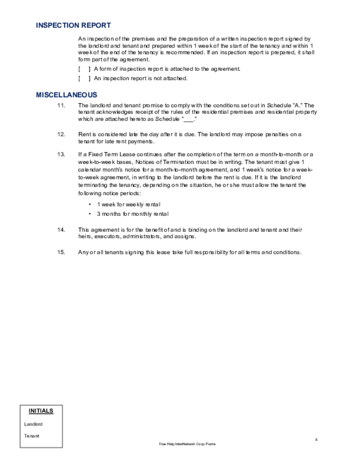 1 Year Lease Agreement Alberta