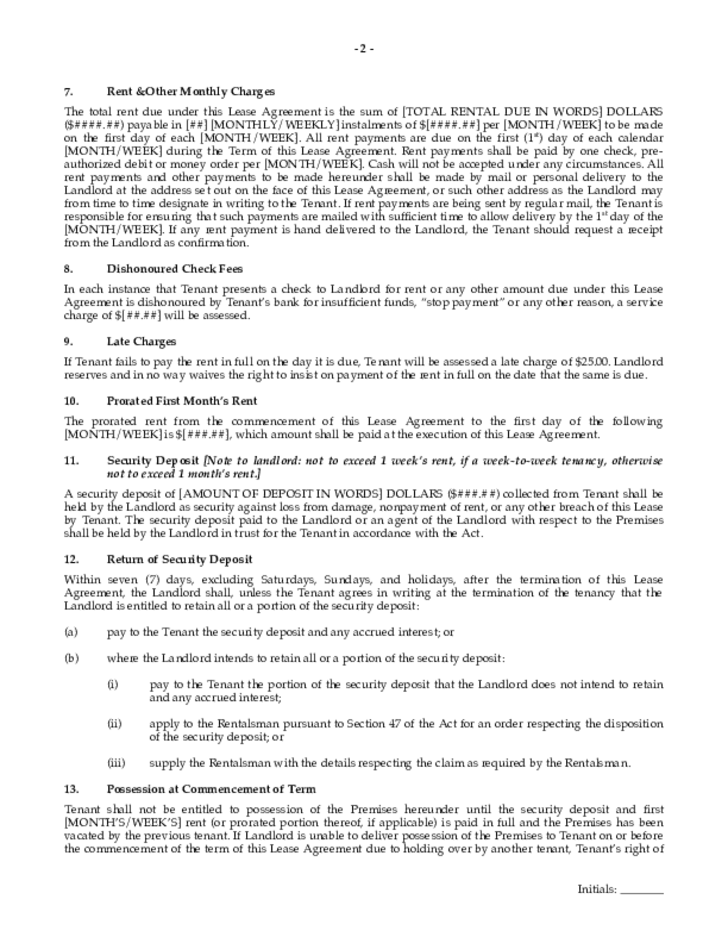 Residential Lease Agreement Saskatchewan Free Download