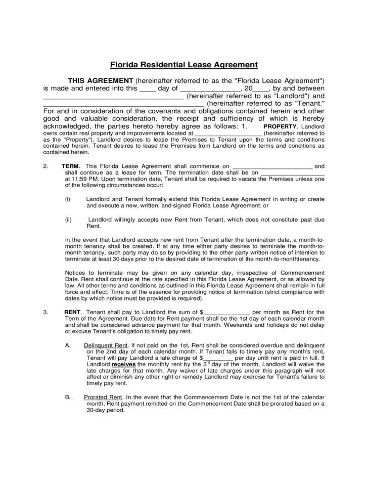 Landlord Lease Agreement Form Florida Free Download