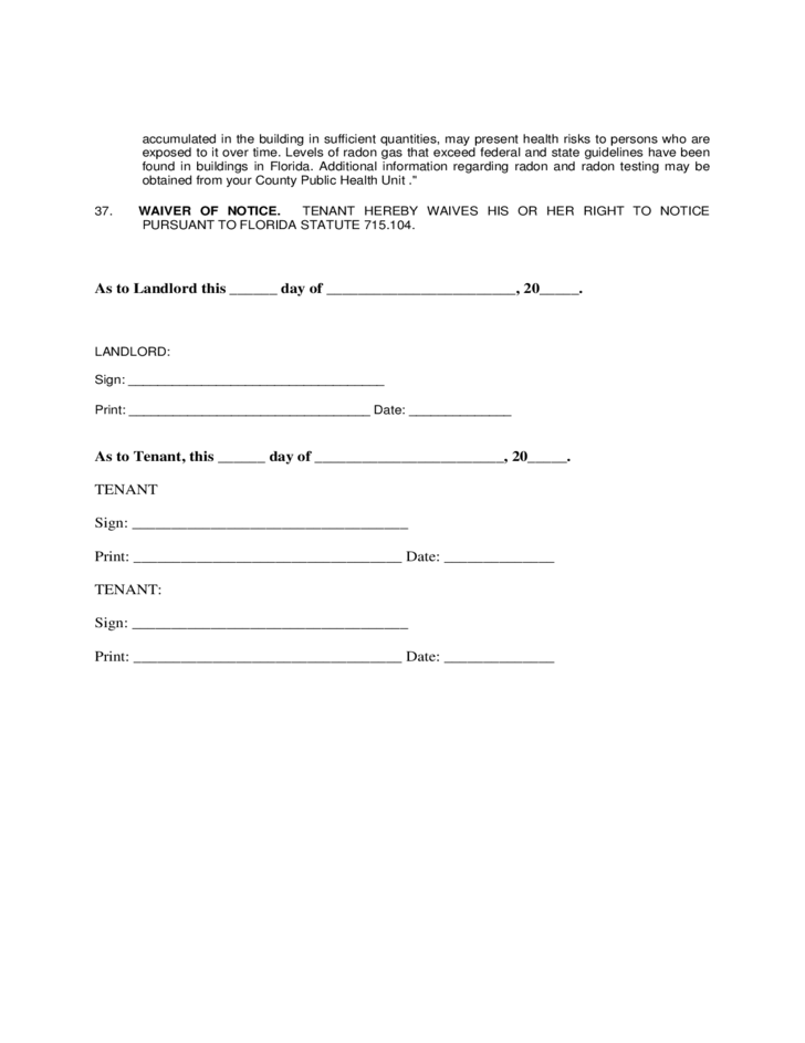 8 Landlord Lease Agreement Form   Florida