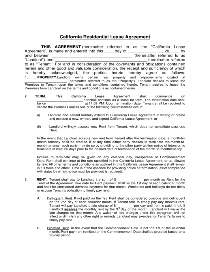 Residential Lease Agreement California Free Download