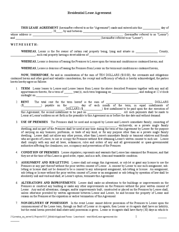 Residential Lease Agreement Sample Form