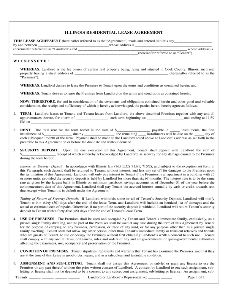 Illinois Rent And Lease Template Free Templates In PDF