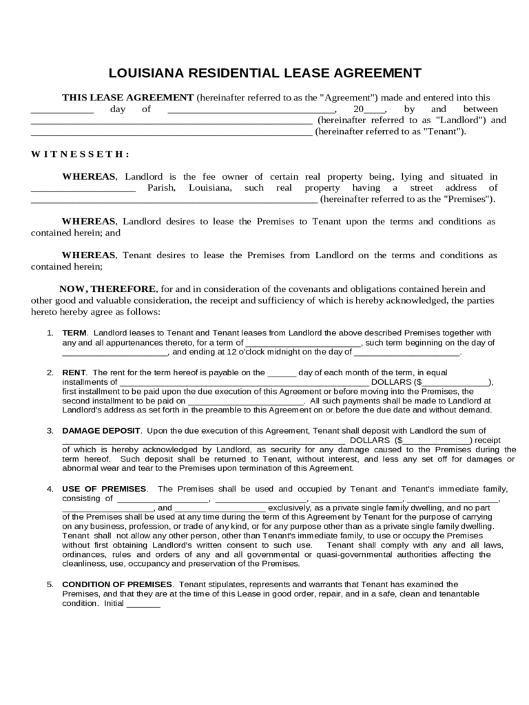 Residential Lease Agreement - Louisiana