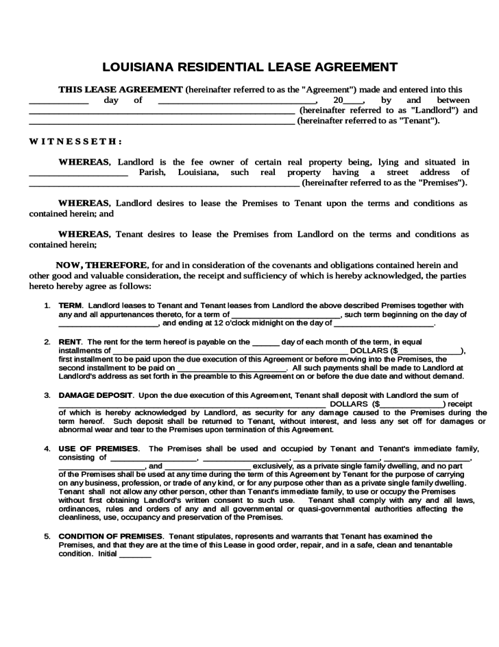 Residential Lease Agreement Louisiana Free Download