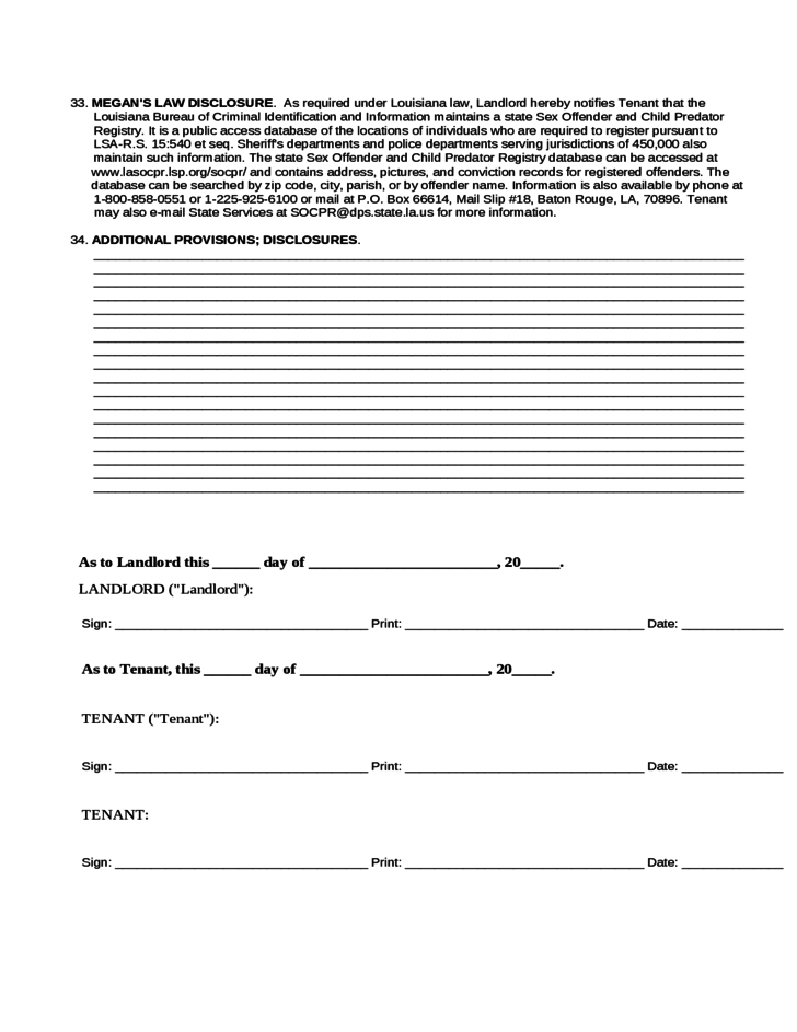 Louisiana Residential Lease Agreement