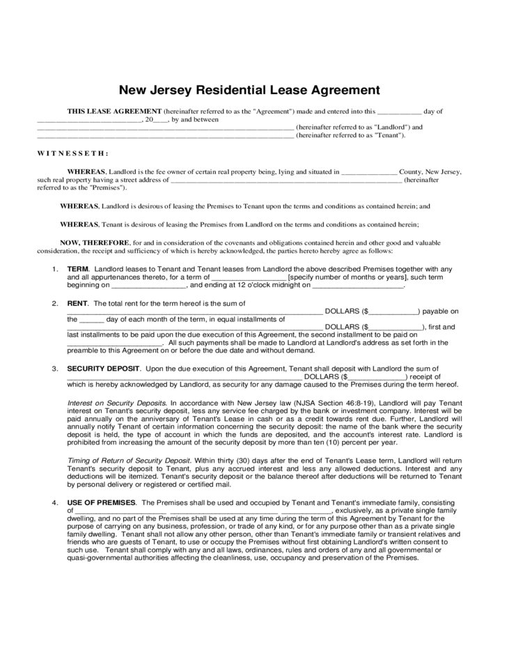 Residential Lease Agreement New Jersey Free Download
