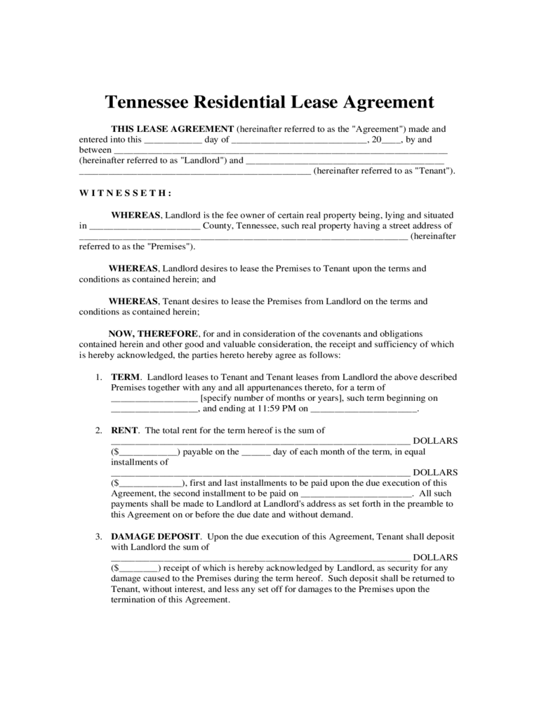 Tennessee Rent And Lease Template Free Templates In Pdf Word
