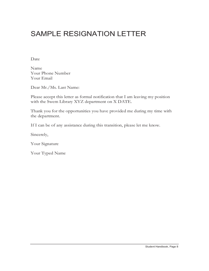 sample resignation letter free download