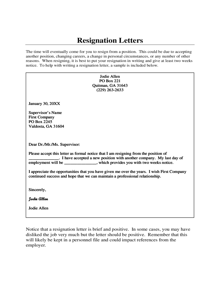resignation letters free download
