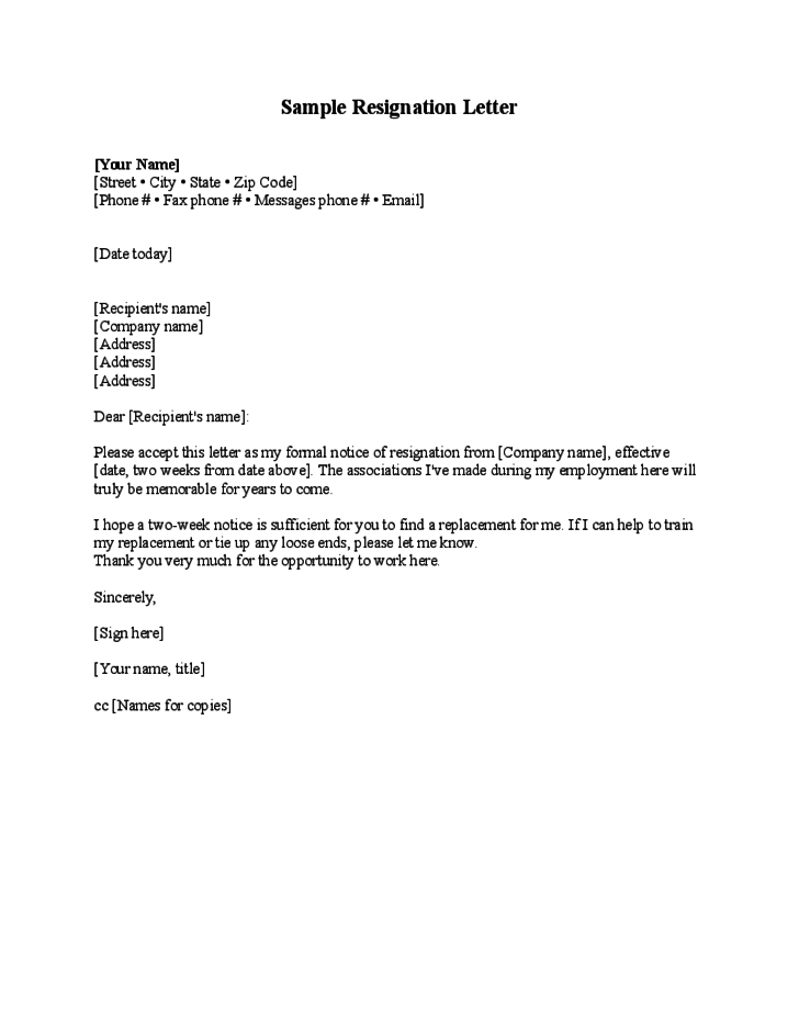 blank resignation letter template free download