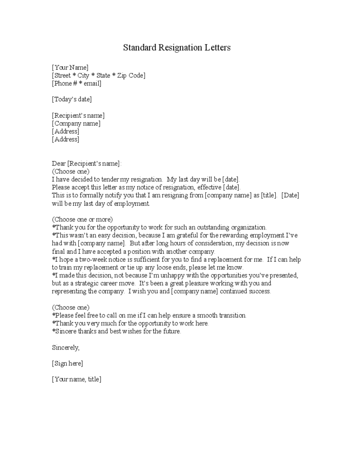 standard letter of resignation template