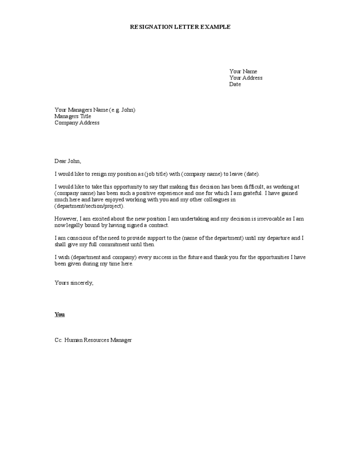 Resignation Letter To Hr Uk