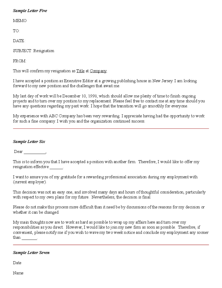 Collection of Resignation Letters