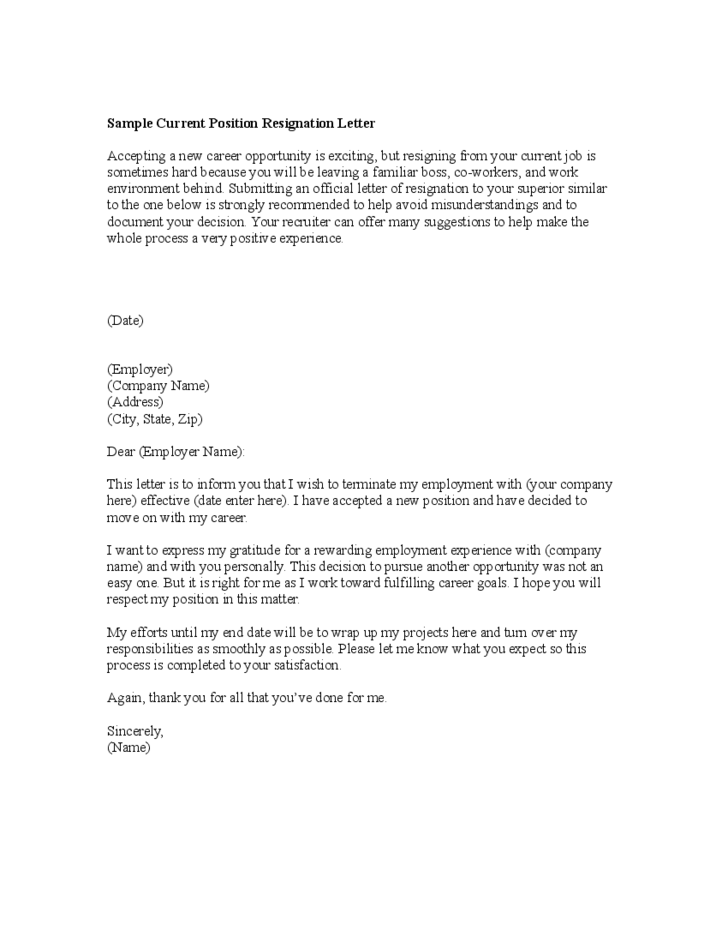 sample current position resignation letter free download