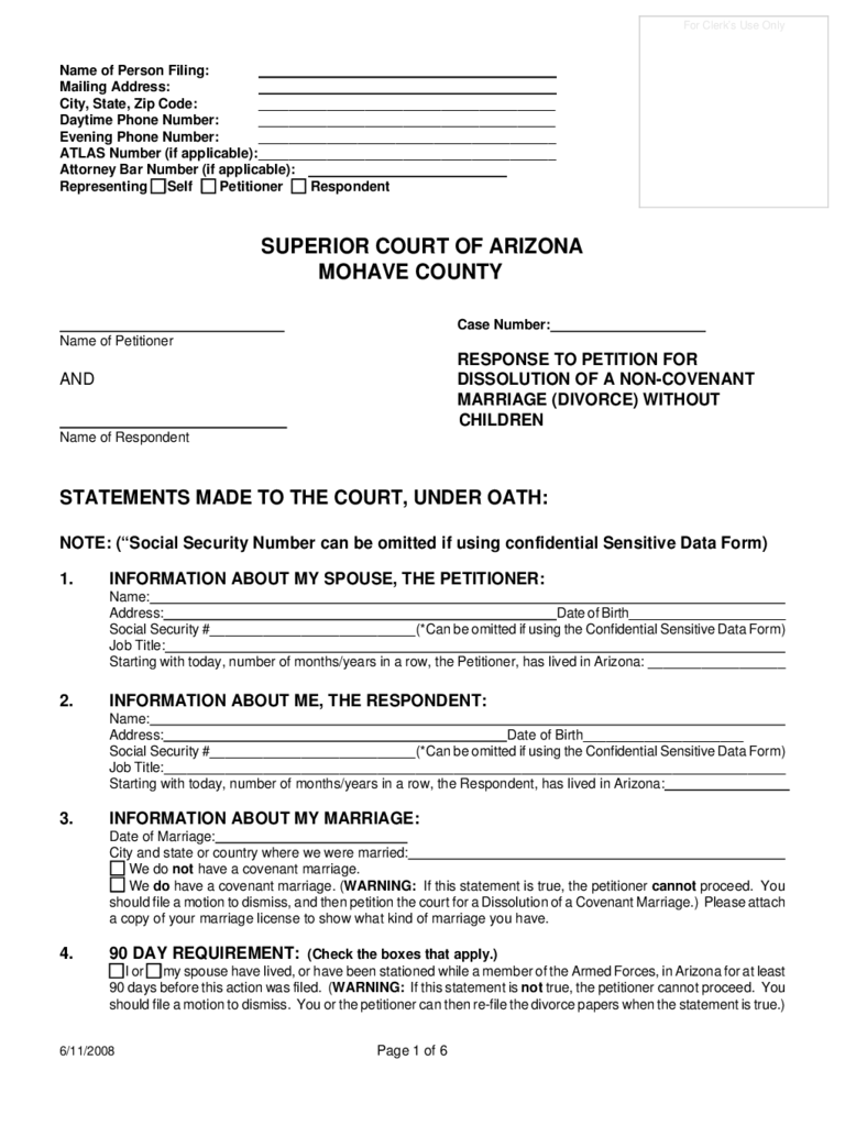 Response to Petition for Divorce Without Children - Arizona
