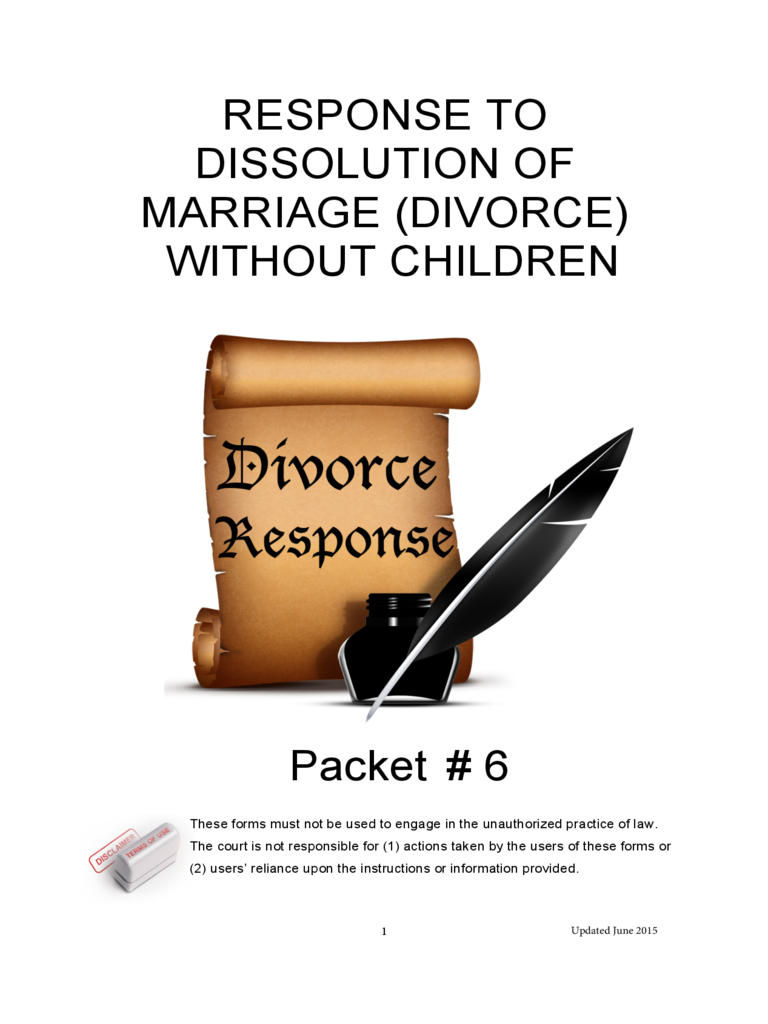 Response to Dissolution of Marrige (Divorce) Without Children - Arizona