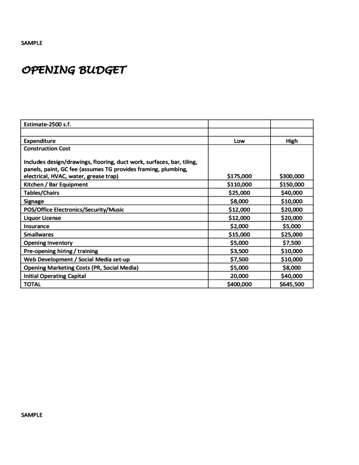 restaurant opening and financial budget sample free download