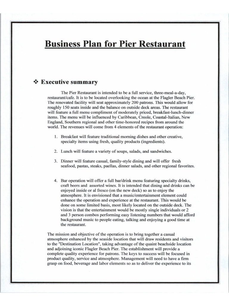 Restaurant business plan 6 free templates in pdf word excel download wajeb