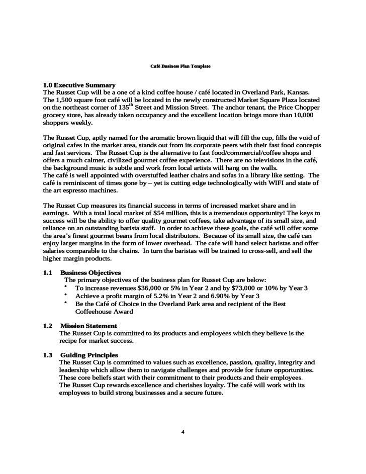 Cafe Business Plan Template Free Download - Business plan template cafe