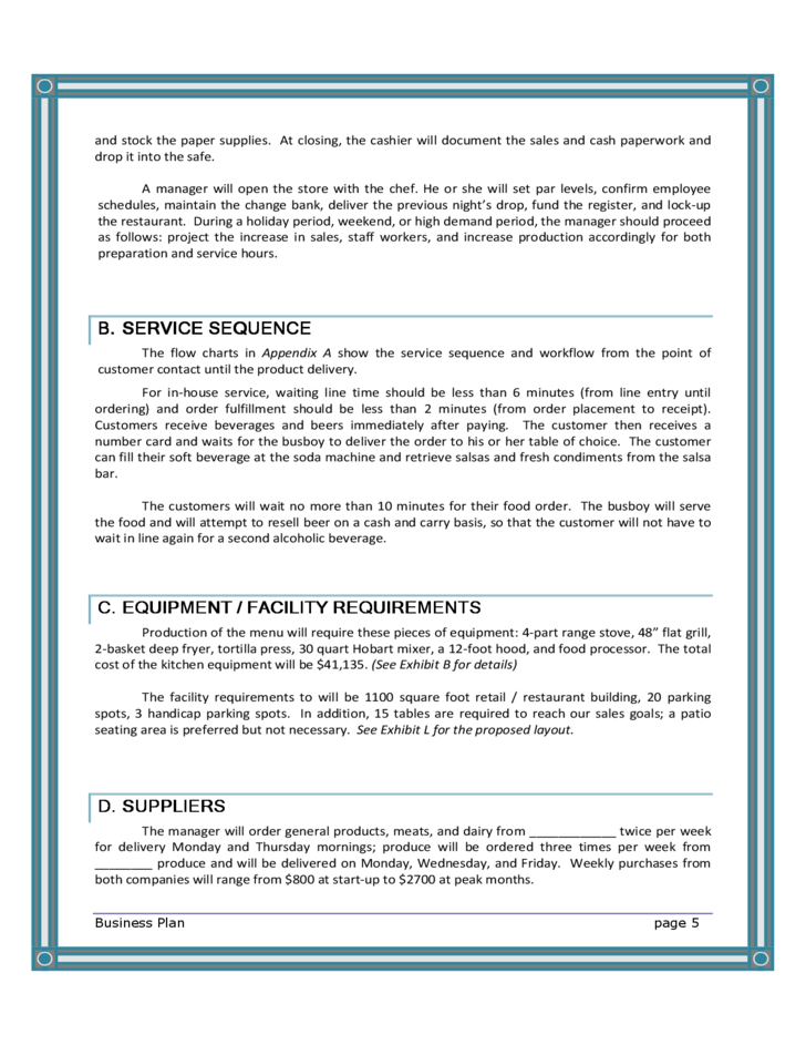 free template for restaurant business plan