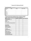 Restaurant Pre-Opening Checklist Free Download