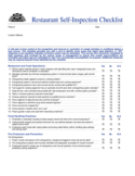 Restaurant Self-Inspection Checklist Free Download