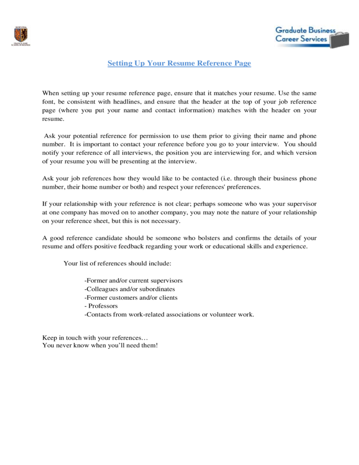 1 resume reference template hofstra university - Reference Page For Resume Template