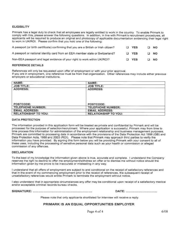 Primark Job Application Form Free Download