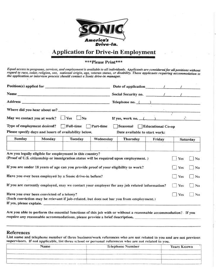 Sonic Drive In Job Application Form Free Download