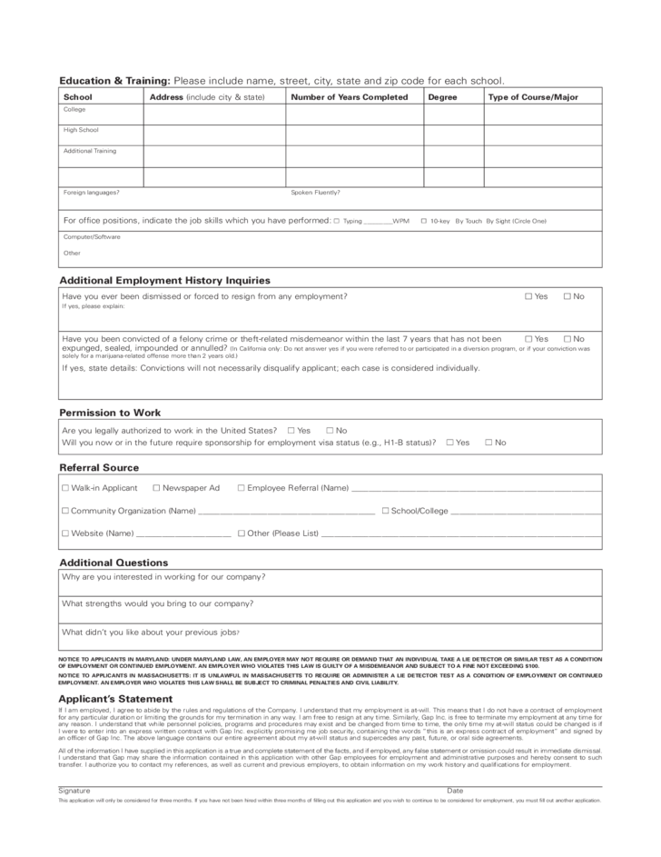 gap-job-application-form-l2 Job Application Form Reason For Leaving on free generic, part time, sonic printable, big lots, blank generic,