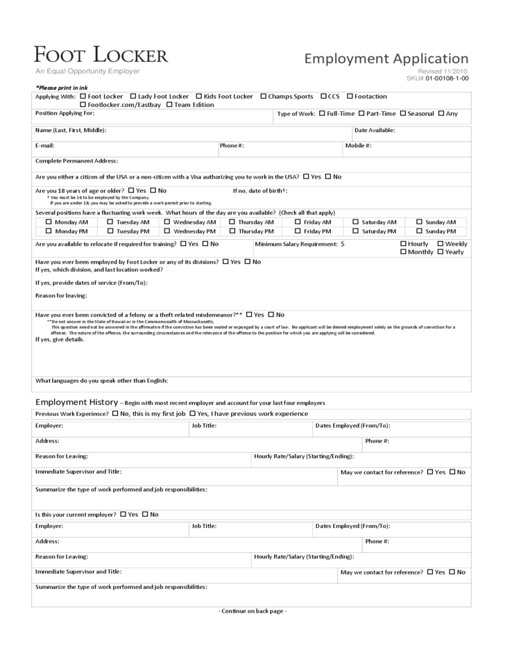 Foot Locker Employment Application Form Free Download