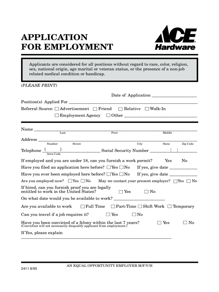 Job application form 103 free templates in pdf word excel download ace hardware application for employment form free download falaconquin