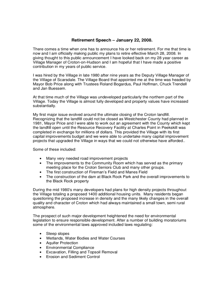 Retirement speech examples 3 free templates in pdf word for Retirement speech template