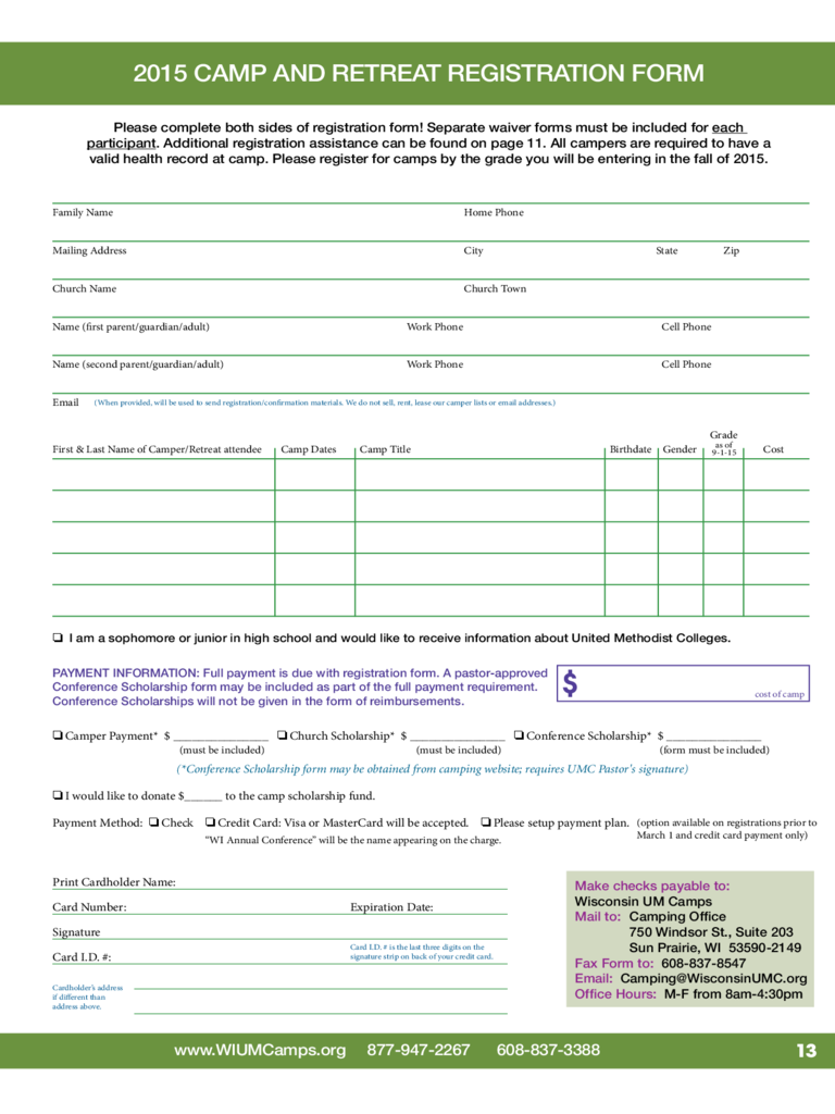 Retreat Registration Form - 2 Free Templates in PDF, Word, Excel ...