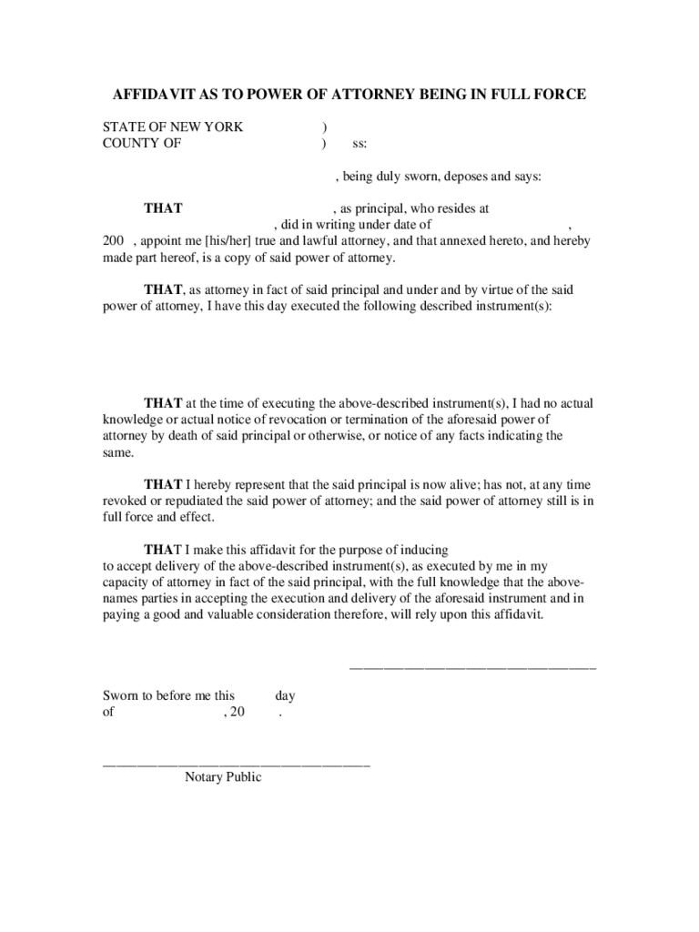 New york power of attorney form free templates in pdf word affidavit as to power of attorney being in full force new york falaconquin