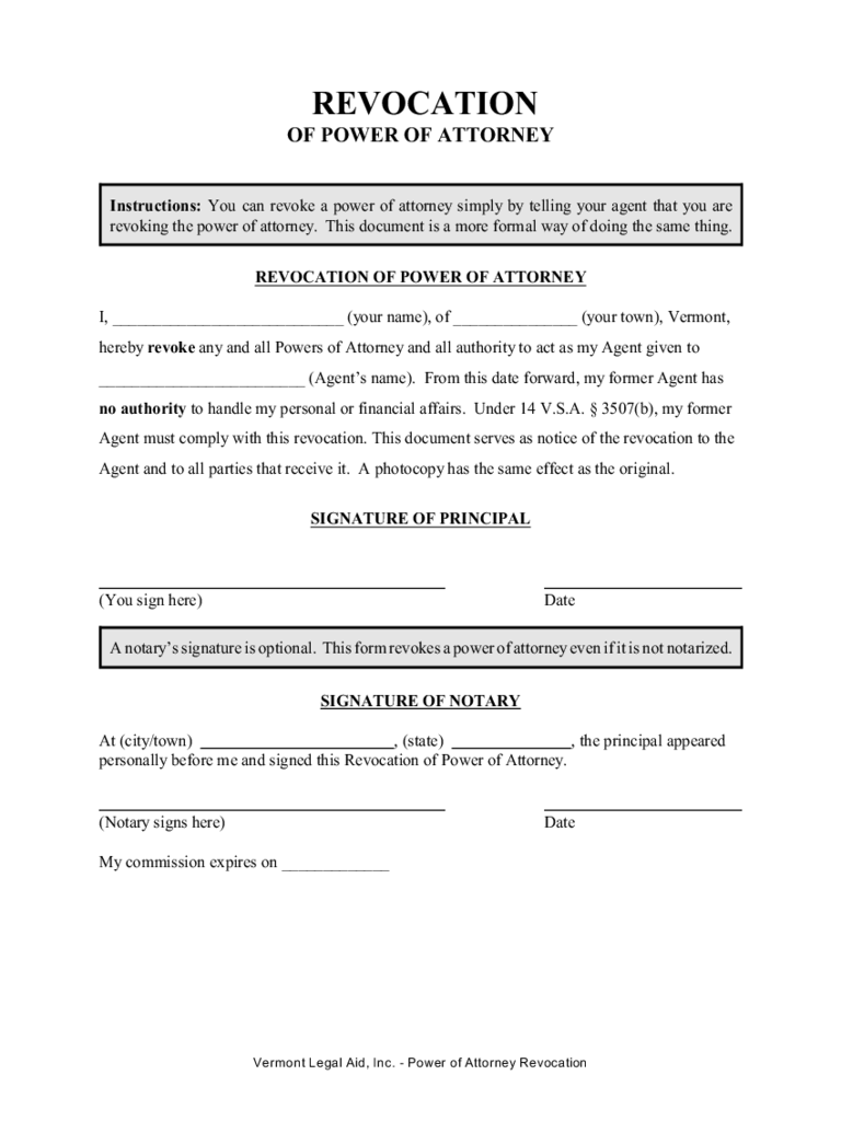 Revocation of Power of Attorney - Vermont