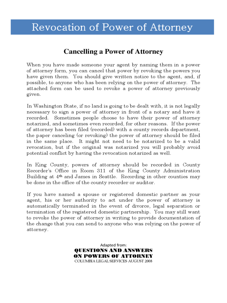Revocation of Power of Attorney Form - Washington