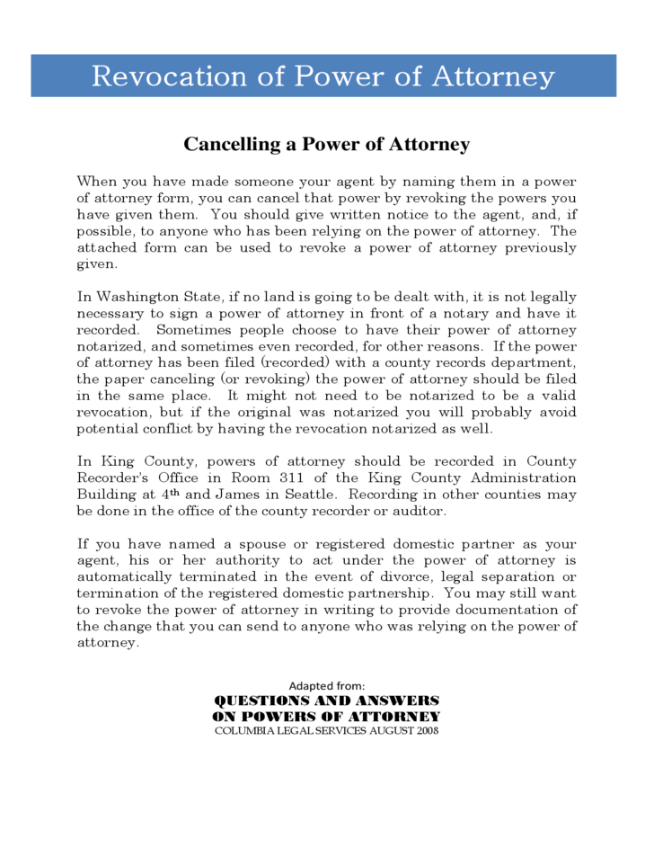 Revocation Of Power Of Attorney Form Washington Free Download