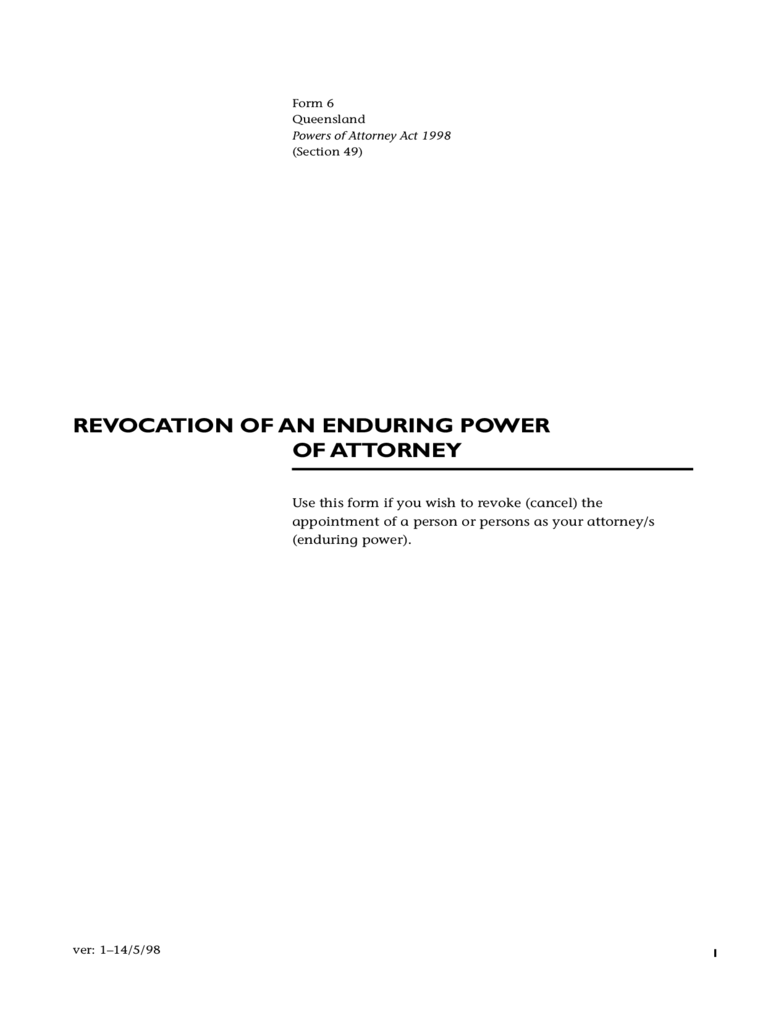 Revocation of Enduring Power of Attorney - Queensland