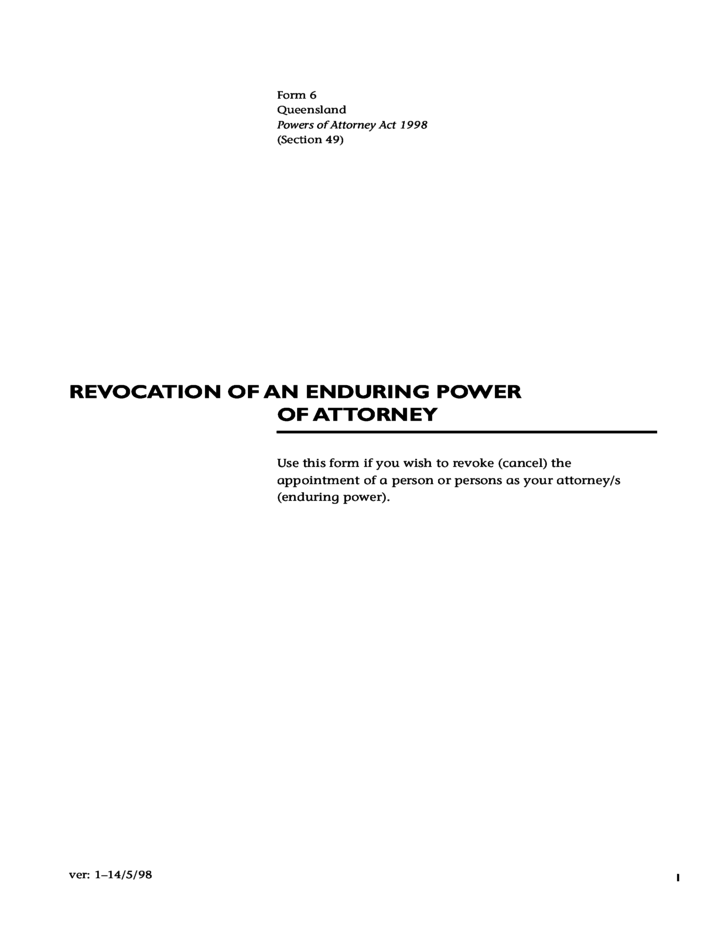 Revocation Of Enduring Power Of Attorney Queensland Free Download