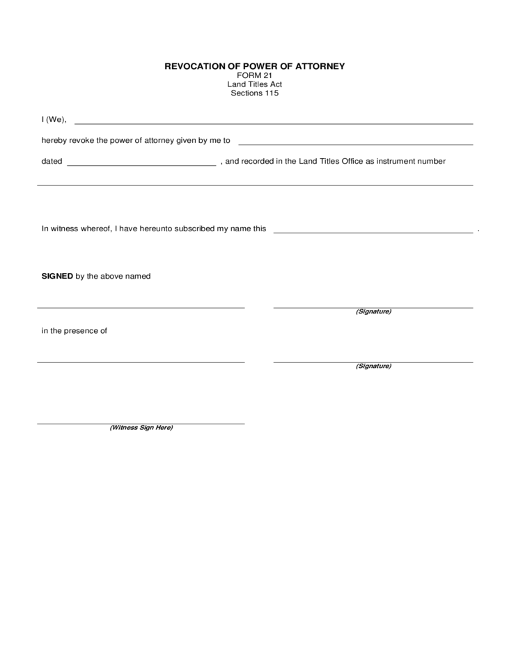 Simple Revocation of Power of Attorney Form